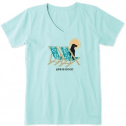 Life is Good Short Sleeve Crusher Vee T - Hibiscus Chairs with Dog in Bermuda Blue