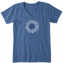 Life is Good Short Sleeve Crusher Vee T - French Sunflower in Vintage Blue