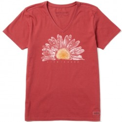 Life is Good Short Sleeve Crusher Vee T - Watercolor Daisy in Faded Red