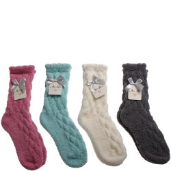 Cozy Cable Stitch Butter Shimmer Crew Sock - 4 Colors