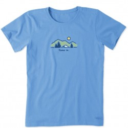 Life is Good Short Sleeve Crew T - Tune In in Powder Blue