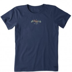 Life is Good Short Sleeve Crew T - Bike Vista in Darkest Blue