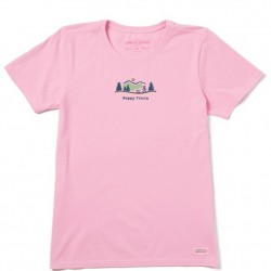 Life is Good Short Sleeve Crew T - Happy Trails in Happy Pink