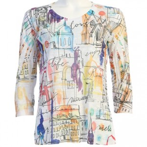Cotton Blend Burnout Print 3/4 Sleeve with Side Slits - Mirage Painted Cityscape