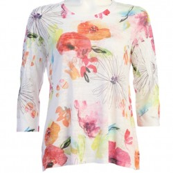 Cotton Blend Burnout Print 3/4 Sleeve with Side Slits - Clara Painted Abstract Floral