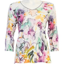 100% Cotton V-neck 3/4 Sleeve T-Shirt - Fanciful Watercolor in White