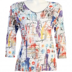100% Cotton V-neck 3/4 Sleeve T-Shirt - Mirage Painted Cityscape in White