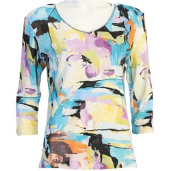 100% Cotton V-neck 3/4 Sleeve T-Shirt - Masterpiece Abstract in White