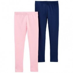 4 to 6X Girls Carters 2 pack Pink and Navy Leggings