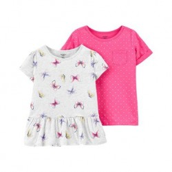 4 to 6X Girls Carters 2-Pack Jersey Tees - Pink/Grey