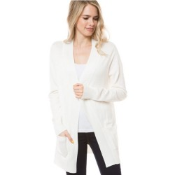 Open Front Rib Trim Cardy with Pockets - Ivory