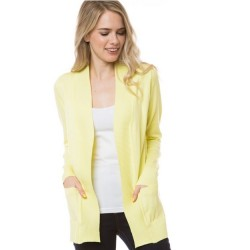 Open Front Rib Trim Cardy with Pockets - Lemon Yellow