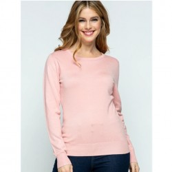 Long Sleeve Pullover Sweater - Dusty Pink