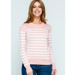 Long Sleeve Round Neck Striped Sweater - Pink