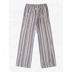 Roxy Striped Cotton Linen Flare Pants with Smocked Waist - Ash Rose
