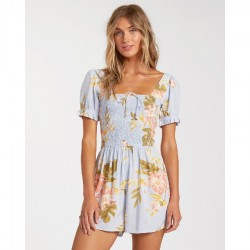 Billabong Floral Print Woven Romper with Smocked Bodice