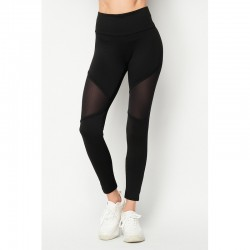 Solid High Waist Leggings with Double Mesh Panels