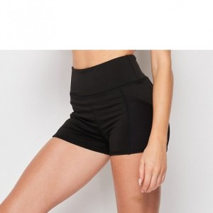 Solid High Waist Workout Shorts with Mesh Inset
