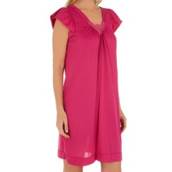 Mid-Length Nightgown V Lace Detail - Raspberry