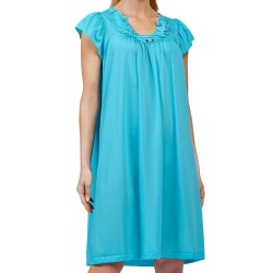 Mid-Length Nightgown with Rosebud Detail - Turquoise
