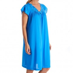Mid-Length Nightgown with Rosebud Detail - Sapphire
