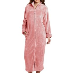 Plush Robe with Full Zip Front - Dusty Rose