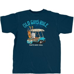Old Guys Rule T-Shirt - Golf Cart in Navy