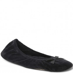 Dearfoam Velour Ballerina - Black
