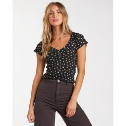 Billabong Short Sleeve Printed Pointelle Rib Knit Baby Tee with Ruched V-Neck