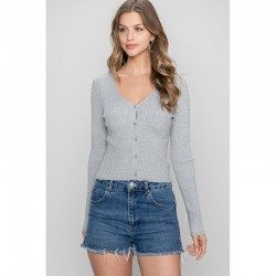 Ribbed Fitted Button Front Cardigan - Heather Grey