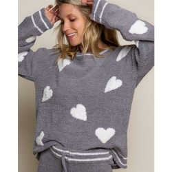 Cozy Berber Heart Sweater Top