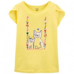4 to 6X Girls Carters Yellow Dog Jersey Tee