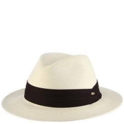 Straw Hat with Black Band - Ivory