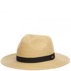 Straw Hat with Black Band - Toast