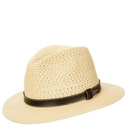 Straw Hat with Faux Leather Band - Natural