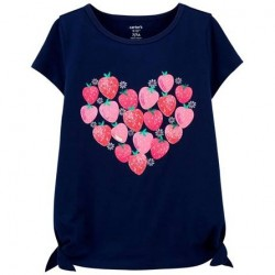 4 to 6x Girls Carters Navy Strawberry Heart Tee