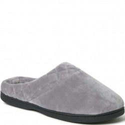 Dearfoam Slipper Open Back Velour - Medium Grey