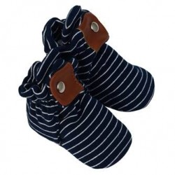 Infant Shoes Robeez Navy Stipe Snap Booties