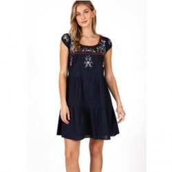 Embroidered Cotton Dress in Navy