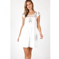 Embroidered Cotton Dress in White