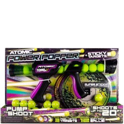Atomic Power Popper with Sticky Targets