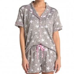 Cozy Knit Shortie Pajama Set - Grey Stars