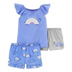 Toddler Girls Carters 3-Piece Rainbow Loose Fit Poly PJs