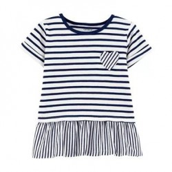 Toddler Girls Carters Striped Jersey Top - Navy/White Stripes