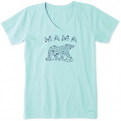 Life is Good Short Sleeve Crusher Vee T - Mama Primal Bear in Bermuda Blue