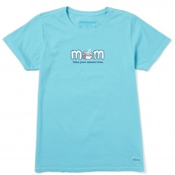 Life is Good Short Sleeve Crew T - Mom Sweet Time in Coastal Blue