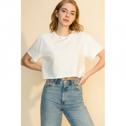 Short Sleeve Loose Fit Crop Tee - Off White
