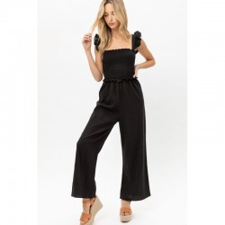 Smocked Bust Jumpsuit with Ruffle Trim - Black