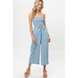 Smocked Bust Spaghetti Strap Jumpsuit with Buttons - Blue