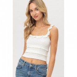 Smocked Crop Tank with Triple Ruffle Layer - White